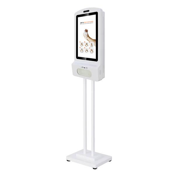 Schermo LCD Con Dispenser Igienizzante - Vista sinistra sul cavalletto