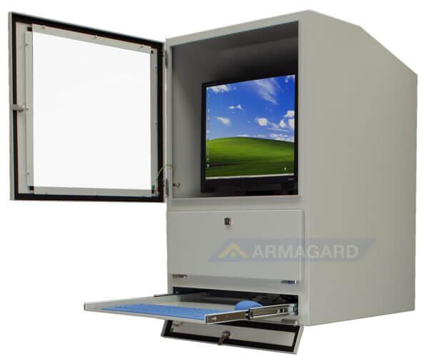 Armadio porta computer - con porta mensola porta tastiera aperte
