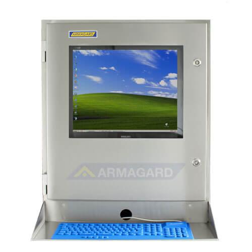 Armadio stagno porta computer IP65 - immagine frontale con ripiano e tastiera