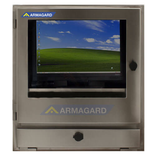Armadio porta PC in acciaio inox immagine frontale con schermo