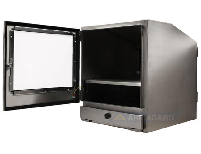 Armadio porta PC in acciaio inox immagine laterale con porta aperta