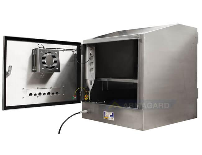 Armadio porta PC in acciaio inox immagine posteriore con porta aperta
