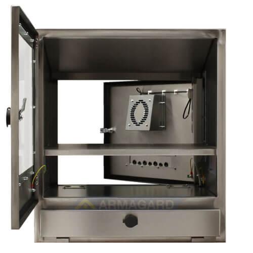 Armadio porta PC in acciaio inox porte anteriore e posteriore aperte