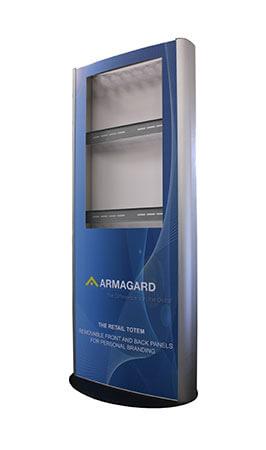 Totem multimediali per interni, immagine laterale, con logo Armagard e senza schermo
