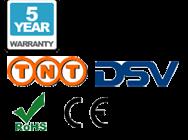 5 anni di garanzia, consegna a mezzo TNT, DSV, CE, e loghi RoHS